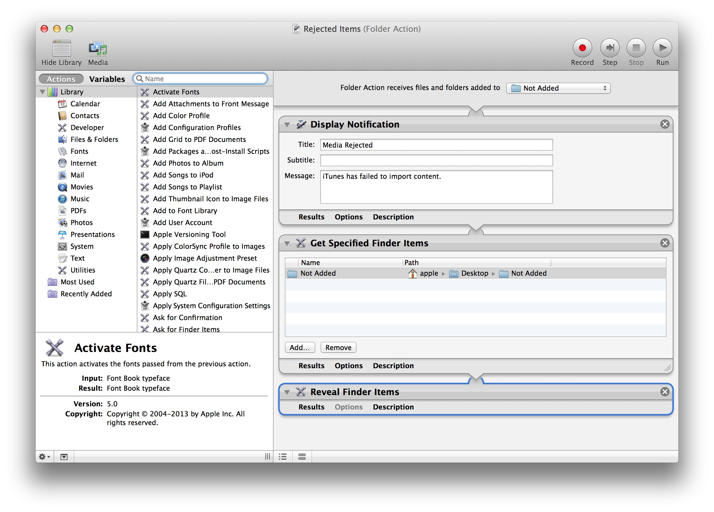 The completed Automator folder action