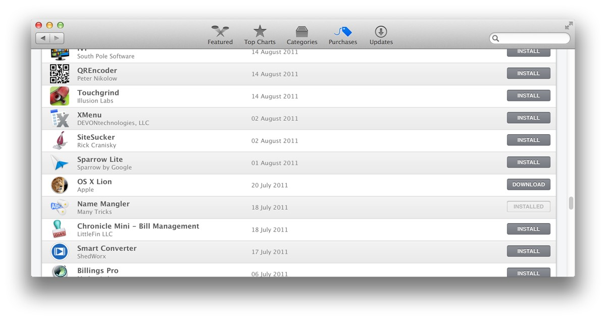 The Purchased tab in the Mac App Store