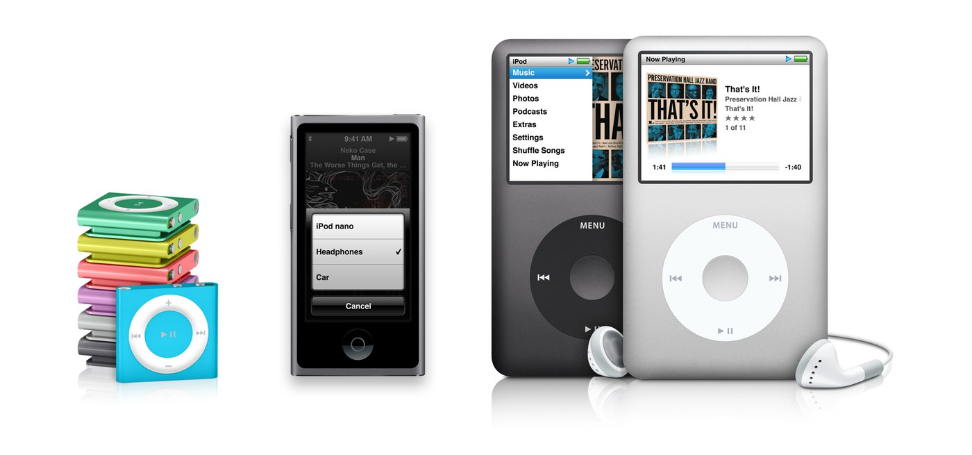 The current iPod range support the volume and playback controls, with the iPod nano and iPod classic including microphone support