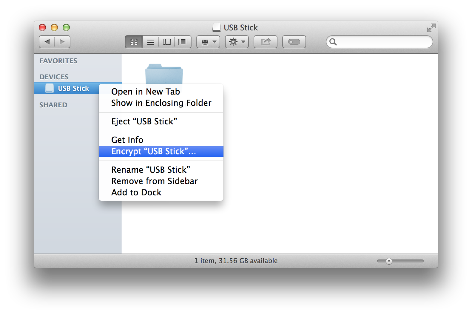 Encrypting via the Finder