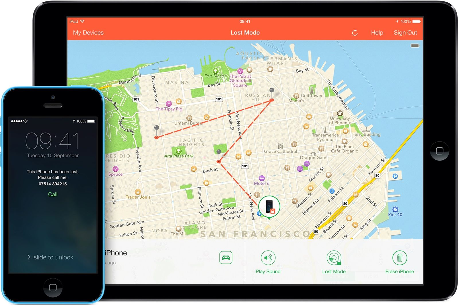 The Find My iPhone app is available on all iOS devices