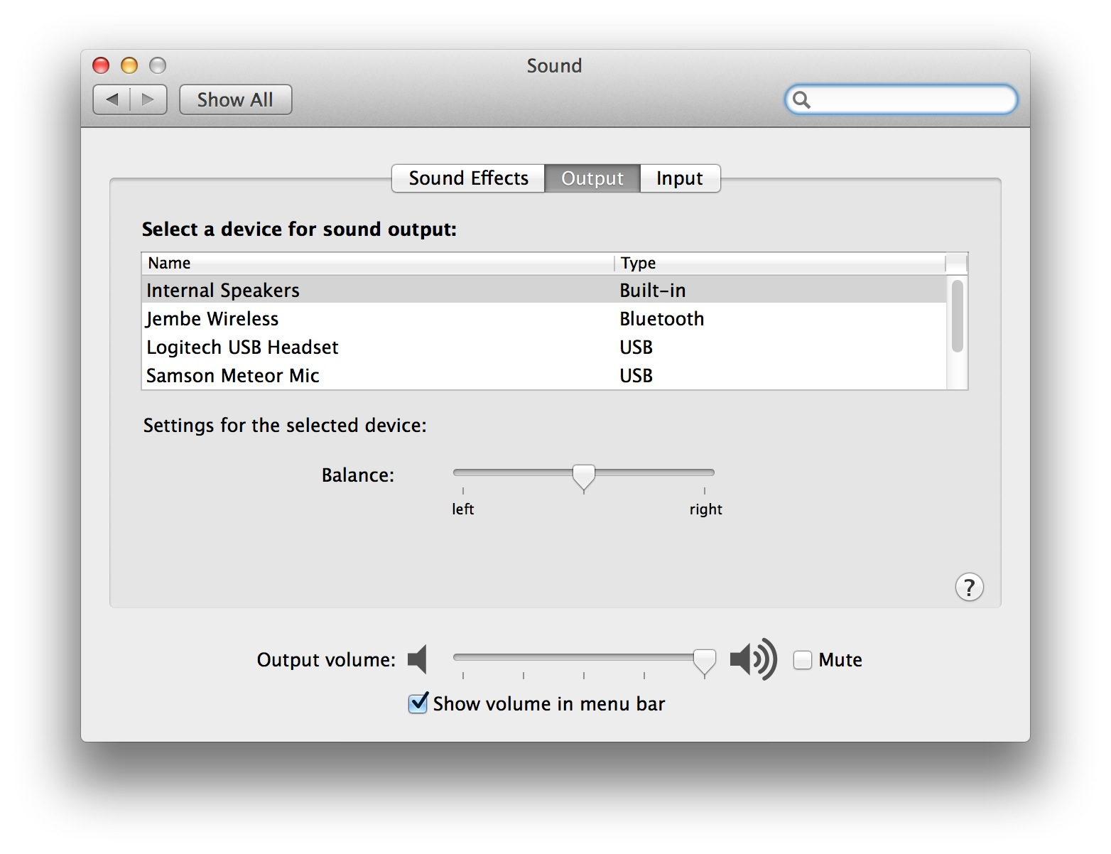 Sound in System Preferences